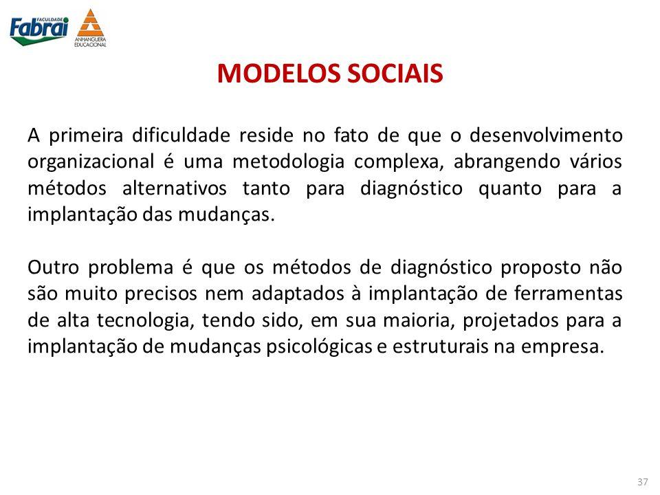 MODELOS SOCIAIS A primeira dificuldade reside no fato de que o desenvolvimento organizacional é uma metodologia complexa, abrangendo vários métodos al