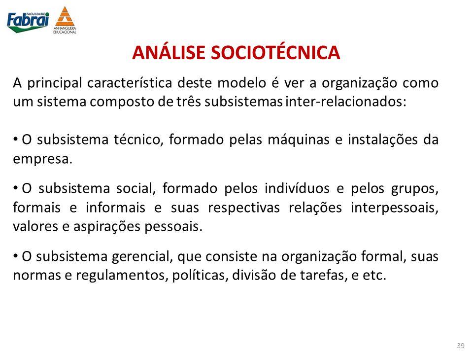 ANÁLISE SOCIOTÉCNICA A principal característica deste modelo é ver a organização como um sistema composto de três subsistemas inter-relacionados: O su