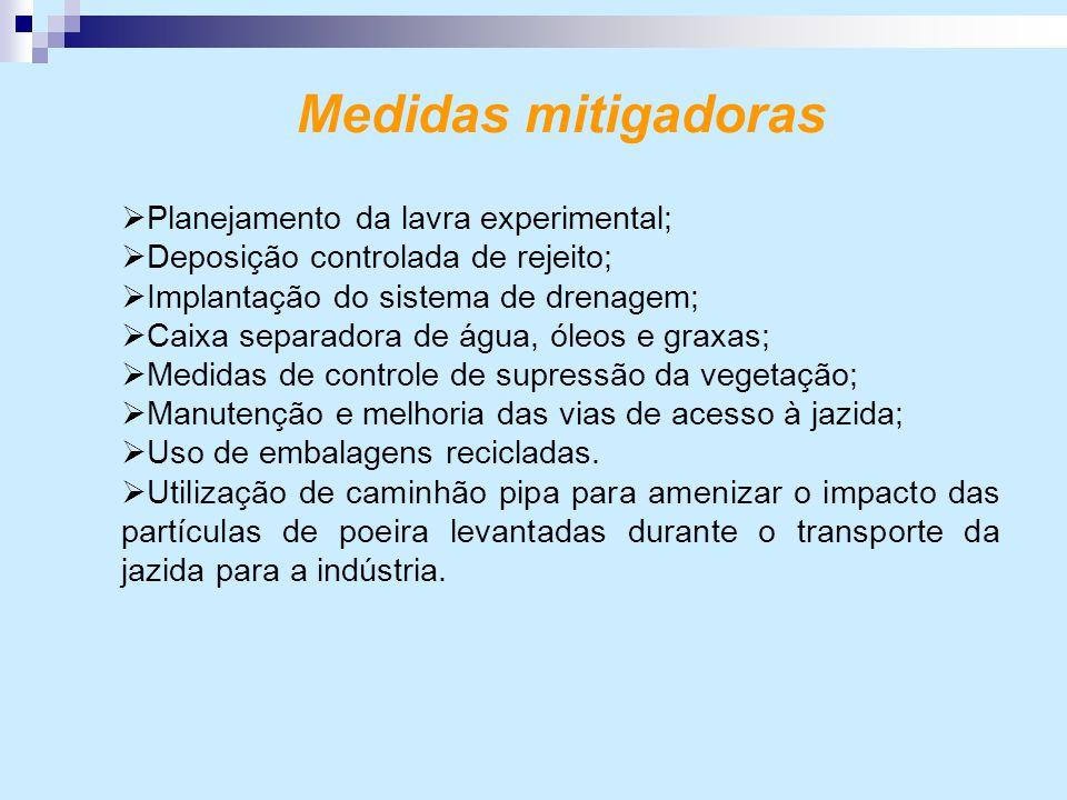 Medidas mitigadoras  Planejamento da lavra experimental;  Deposição controlada de rejeito;  Implantação do sistema de drenagem;  Caixa separadora