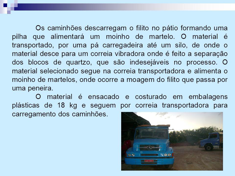 Os caminhões descarregam o filito no pátio formando uma pilha que alimentará um moinho de martelo. O material é transportado, por uma pá carregadeira