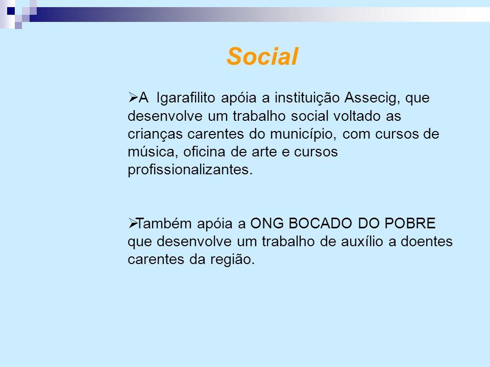 Social  A Igarafilito apóia a instituição Assecig, que desenvolve um trabalho social voltado as crianças carentes do município, com cursos de música,