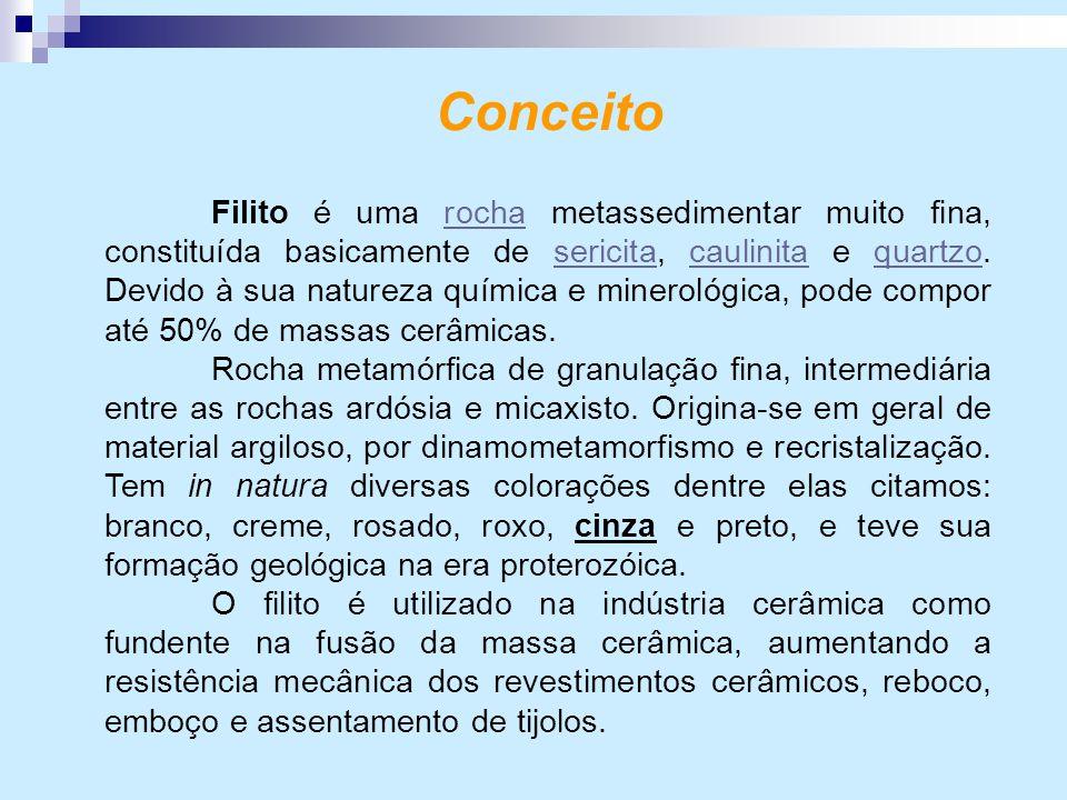 Conceito Filito é uma rocha metassedimentar muito fina, constituída basicamente de sericita, caulinita e quartzo. Devido à sua natureza química e mine