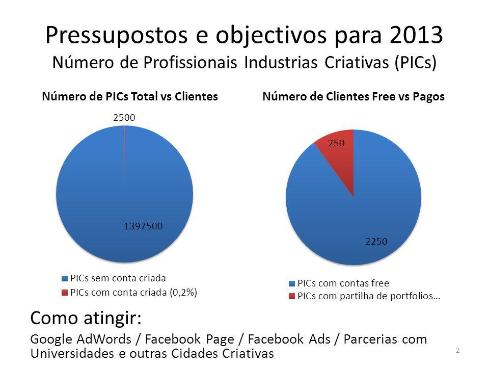 2 Pressupostos e objectivos para 2013 Número de Profissionais Industrias Criativas (PICs) Como atingir: Google AdWords / Facebook Page / Facebook Ads / Parcerias com Universidades e outras Cidades Criativas