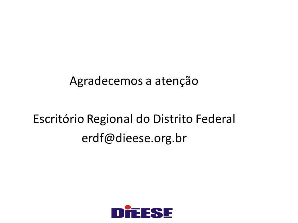 Agradecemos a atenção Escritório Regional do Distrito Federal erdf@dieese.org.br