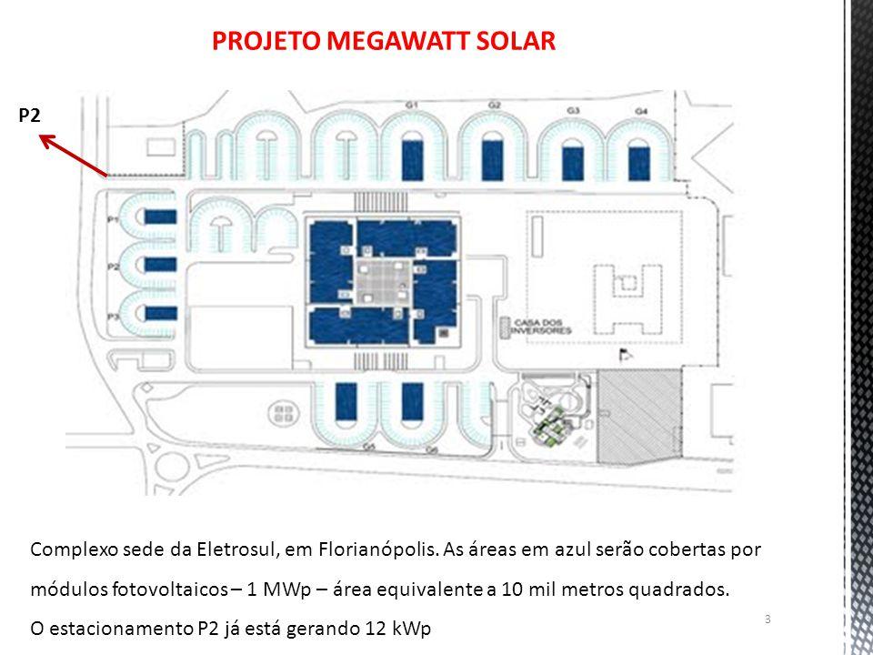 3 Complexo sede da Eletrosul, em Florianópolis. As áreas em azul serão cobertas por módulos fotovoltaicos – 1 MWp – área equivalente a 10 mil metros q