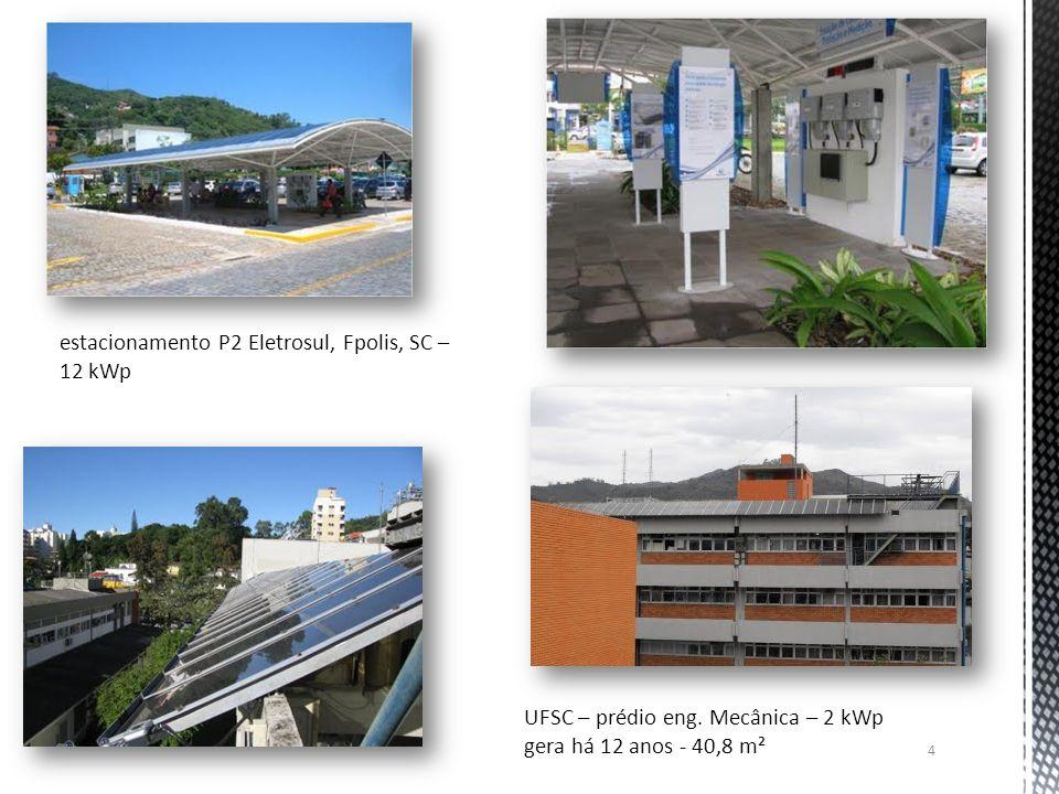 4 estacionamento P2 Eletrosul, Fpolis, SC – 12 kWp UFSC – prédio eng. Mecânica – 2 kWp gera há 12 anos - 40,8 m²