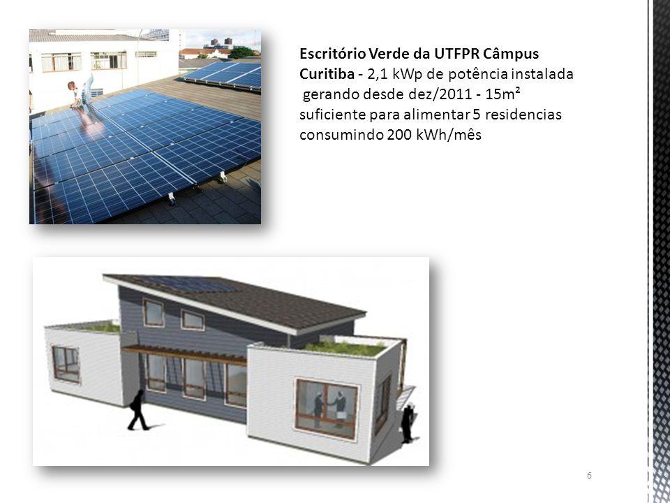 6 Escritório Verde da UTFPR Câmpus Curitiba - 2,1 kWp de potência instalada gerando desde dez/2011 - 15m² suficiente para alimentar 5 residencias cons