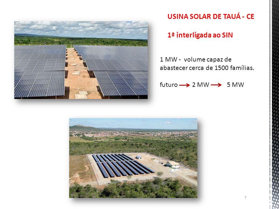 7 USINA SOLAR DE TAUÁ - CE 1ª interligada ao SIN 1 MW - volume capaz de abastecer cerca de 1500 famílias. futuro 2 MW 5 MW