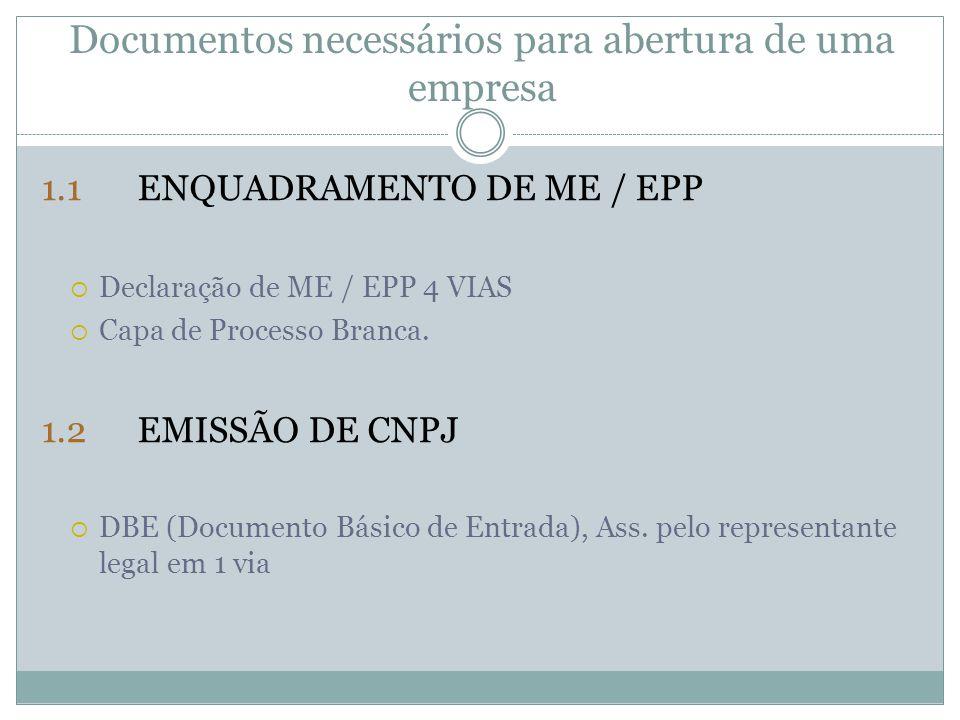 Documentos necessários para abertura de uma empresa 1.1ENQUADRAMENTO DE ME / EPP  Declaração de ME / EPP 4 VIAS  Capa de Processo Branca. 1.2EMISSÃO