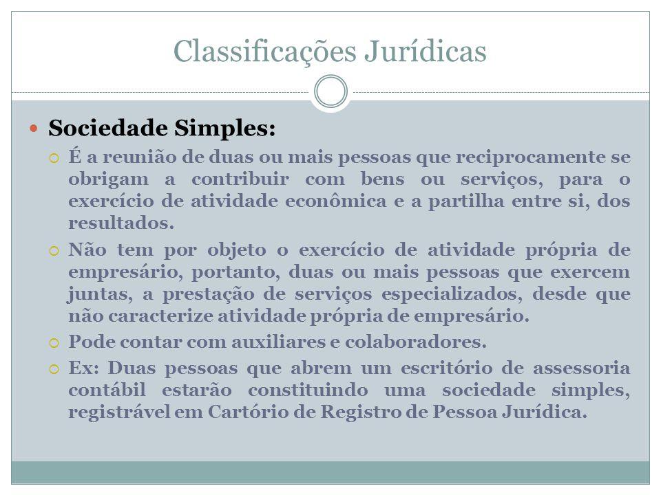 Classificações Jurídicas Sociedade Simples:  É a reunião de duas ou mais pessoas que reciprocamente se obrigam a contribuir com bens ou serviços, par