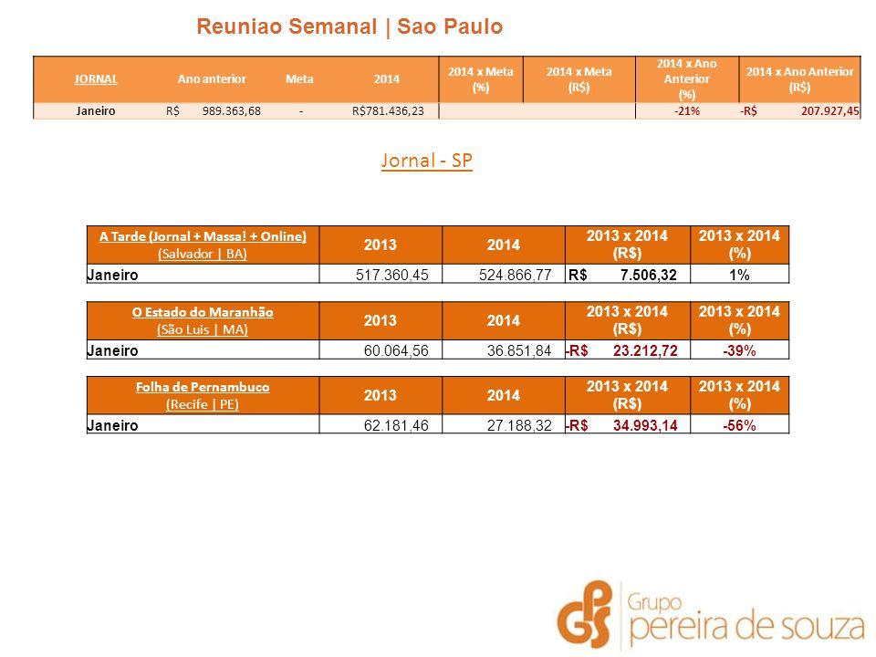 Reuniao Semanal | Sao Paulo | Janeiro 2014 Jornal - SP JORNALAno anteriorMeta2014 2014 x Meta (%) 2014 x Meta (R$) 2014 x Ano Anterior (%) 2014 x Ano Anterior (R$) Janeiro R$ 989.363,68 - R$781.436,23 -21%-R$ 207.927,45 A Tarde (Jornal + Massa.