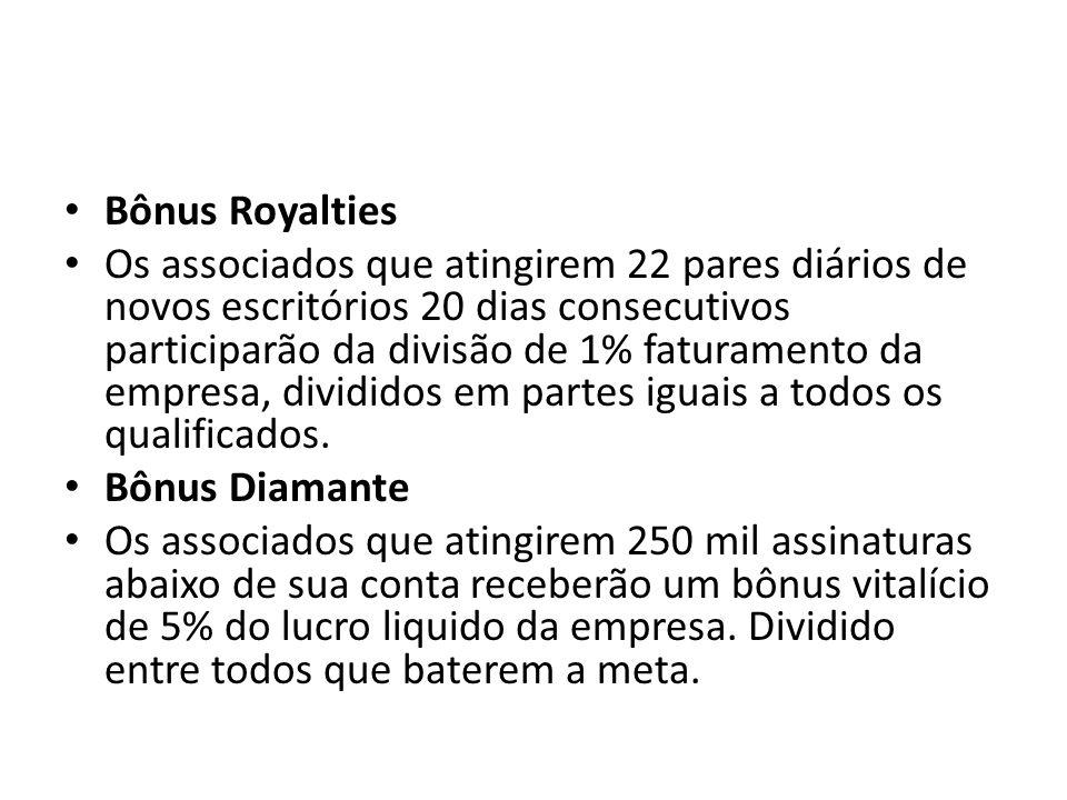Bônus Royalties Os associados que atingirem 22 pares diários de novos escritórios 20 dias consecutivos participarão da divisão de 1% faturamento da empresa, divididos em partes iguais a todos os qualificados.
