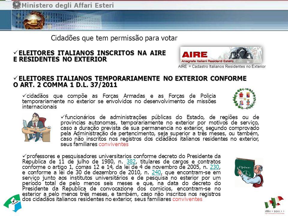 ELEITORES ITALIANOS INSCRITOS NA AIRE E RESIDENTES NO EXTERIOR cidadãos que compõe as Forças Armadas e as Forças de Policia temporariamente no exterior se envolvidos no desenvolvimento de missões internacionais ELEITORES ITALIANOS TEMPORARIAMENTE NO EXTERIOR CONFORME O ART.