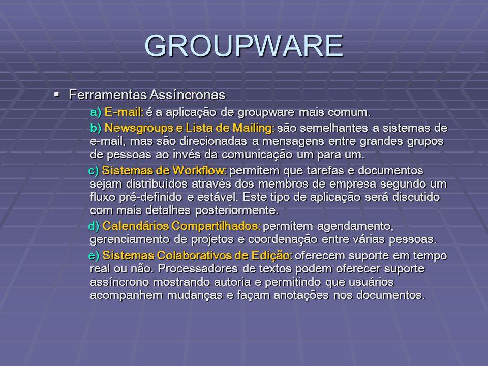 GROUPWARE  Ferramentas Assíncronas a) E-mail: é a aplicação de groupware mais comum. b) Newsgroups e Lista de Mailing: são semelhantes a sistemas de
