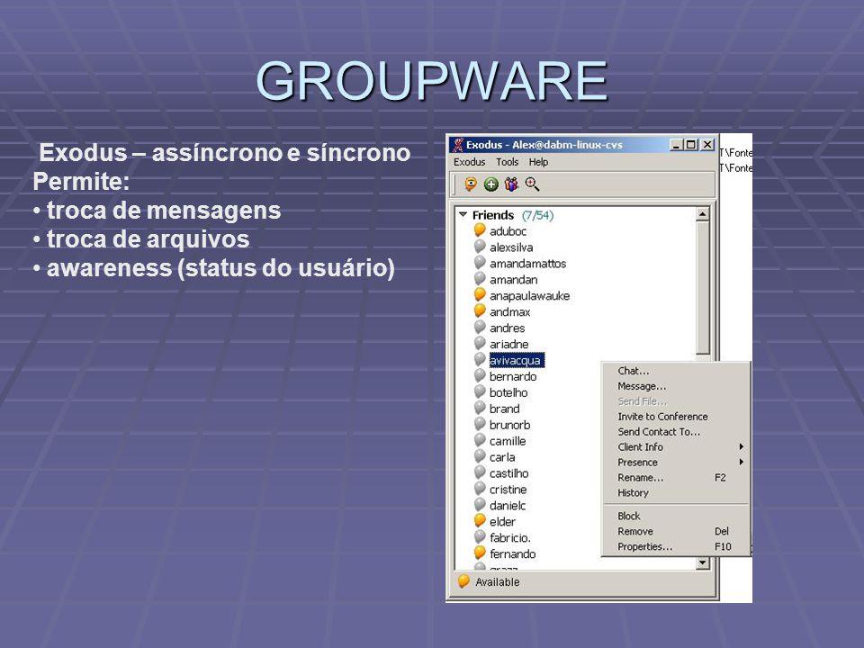 GROUPWARE Exodus – assíncrono e síncrono Permite: troca de mensagens troca de arquivos awareness (status do usuário)