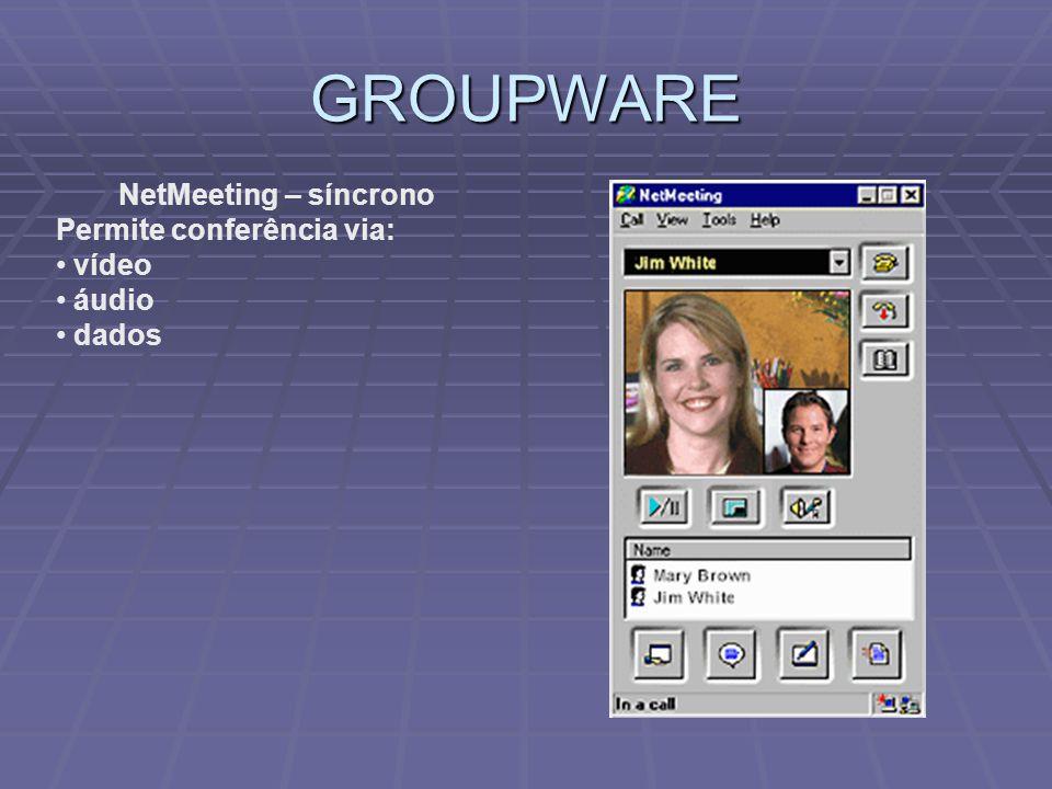 GROUPWARE NetMeeting – síncrono Permite conferência via: vídeo áudio dados