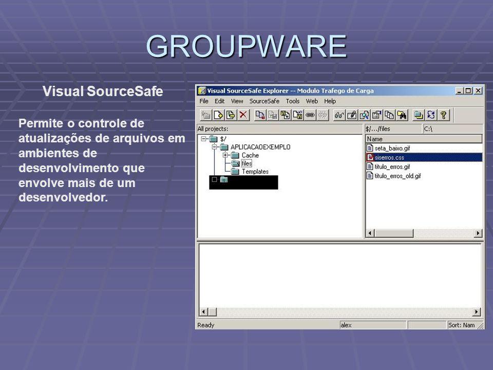GROUPWARE Visual SourceSafe Permite o controle de atualizações de arquivos em ambientes de desenvolvimento que envolve mais de um desenvolvedor.