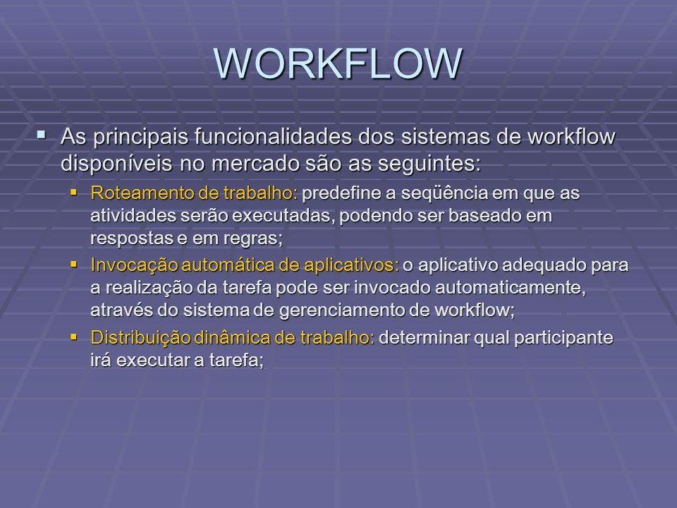 WORKFLOW  As principais funcionalidades dos sistemas de workflow disponíveis no mercado são as seguintes:  Roteamento de trabalho: predefine a seqüê