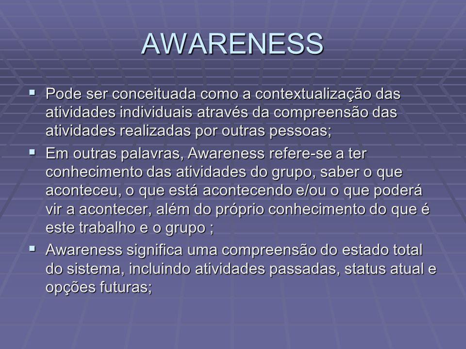 AWARENESS  Pode ser conceituada como a contextualização das atividades individuais através da compreensão das atividades realizadas por outras pessoa