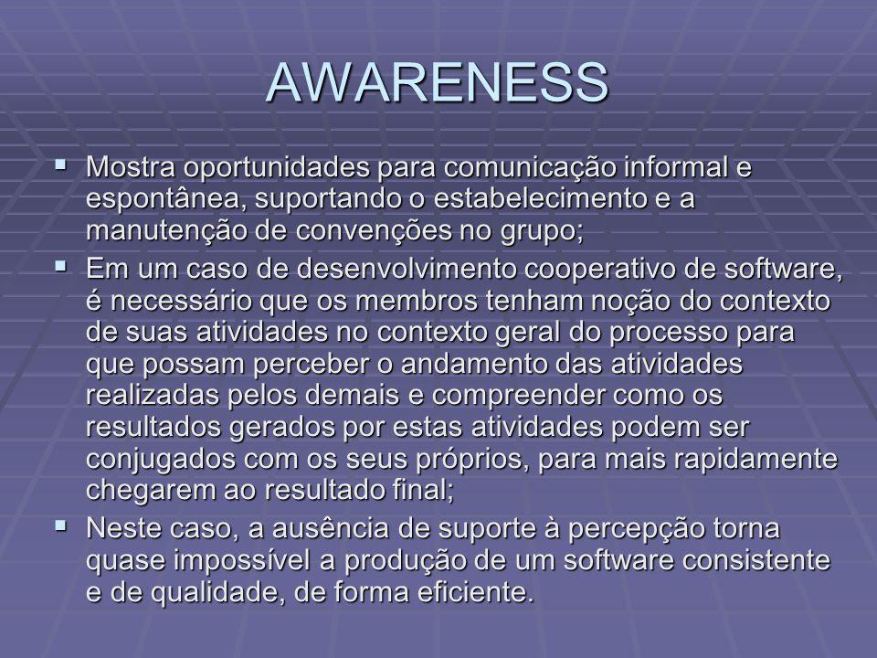 AWARENESS  Mostra oportunidades para comunicação informal e espontânea, suportando o estabelecimento e a manutenção de convenções no grupo;  Em um c