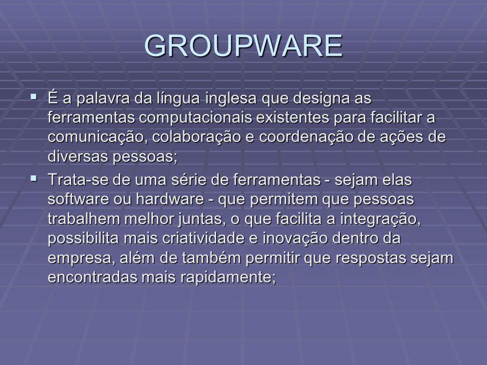 GROUPWARE  Tipicamente, as ferramentas de groupware representam uma evolução das antigas ferramentas de Workgroup, sendo estas caracterizadas por trazerem maior produtividade para cada pessoa isoladamente;  Assim, por exemplo, se anteriormente as pessoas usavam ferramentas de agenda isoladamente, a partir da evolução para o groupware, a ferramenta de agenda passa a ser colaborativa; através da rede, todos podem ver as agendas dos demais e até mesmo agendar reuniões;