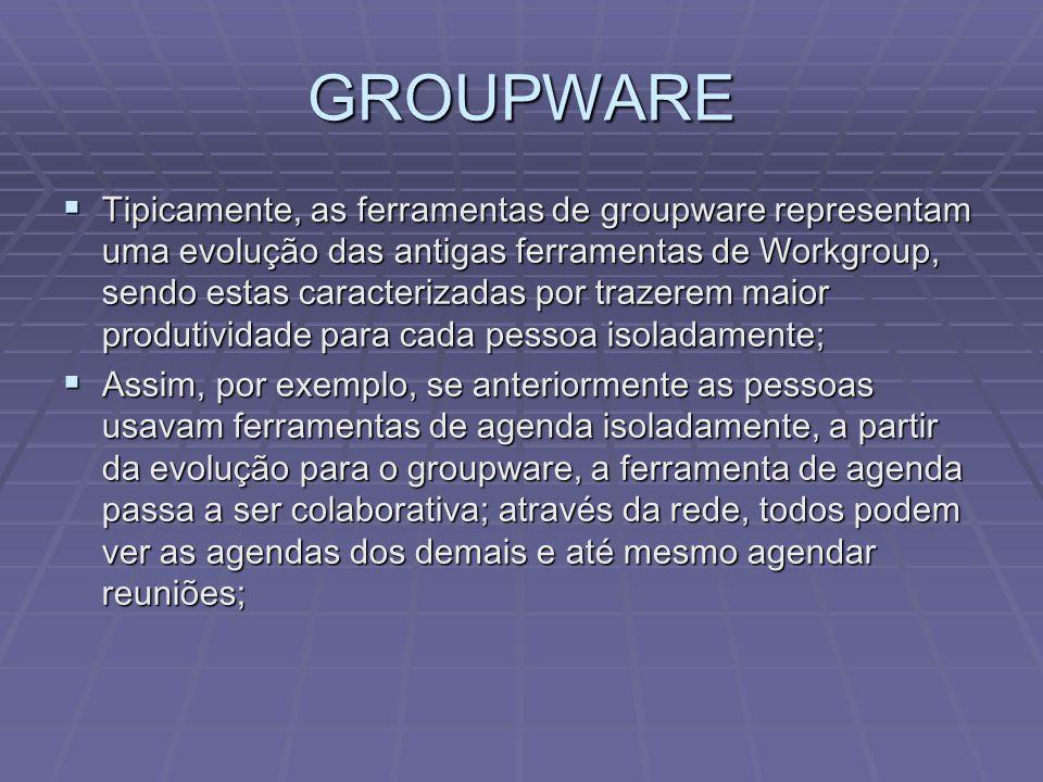 GROUPWARE  As ferramentas Groupware podem ser divididas em dois tipos:  Síncronas:  Os usuários trabalham juntos e ao mesmo tempo;  Valoriza-se a interação, visto que o tempo de resposta entre a ação de um participante e a reação de seus companheiros é curto.