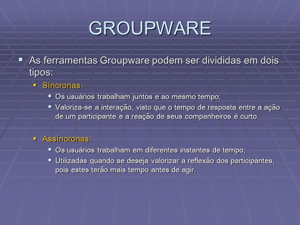 GROUPWARE  As ferramentas Groupware podem ser divididas em dois tipos:  Síncronas:  Os usuários trabalham juntos e ao mesmo tempo;  Valoriza-se a