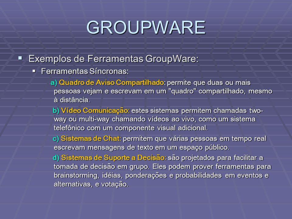 GROUPWARE  Exemplos de Ferramentas GroupWare:  Ferramentas Síncronas: a) Quadro de Aviso Compartilhado: permite que duas ou mais pessoas vejam e esc