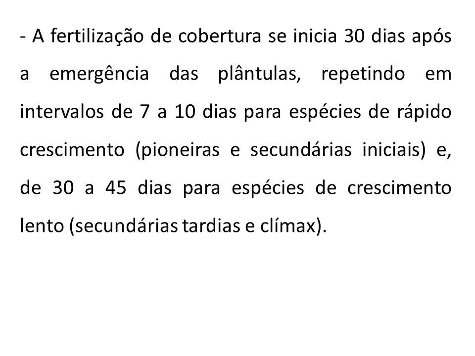- A fertilização de cobertura se inicia 30 dias após a emergência das plântulas, repetindo em intervalos de 7 a 10 dias para espécies de rápido cresci