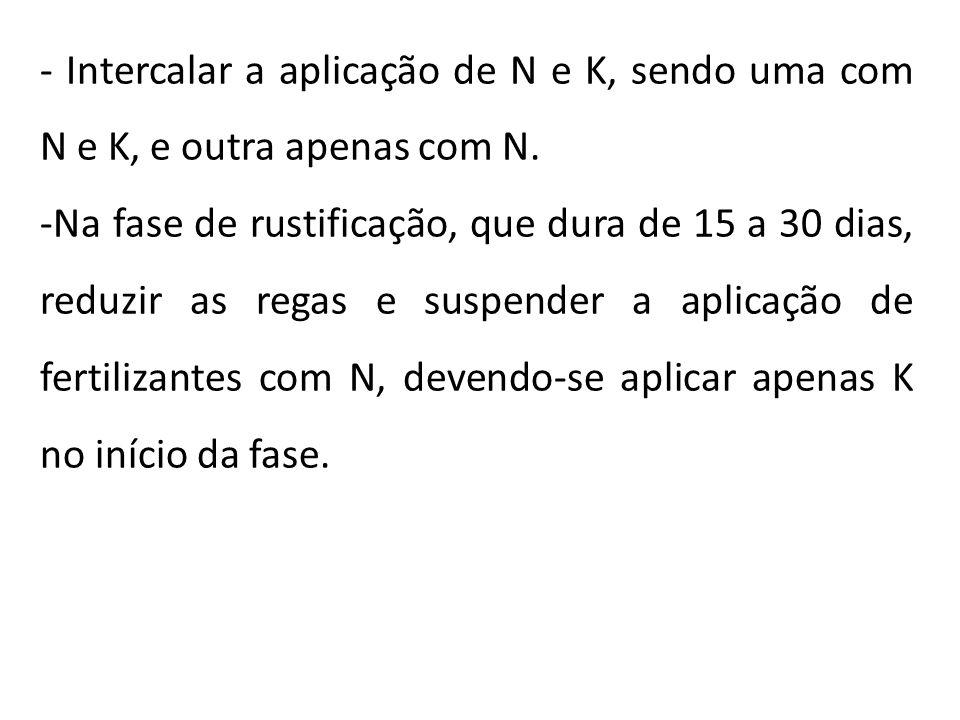 - Intercalar a aplicação de N e K, sendo uma com N e K, e outra apenas com N. -Na fase de rustificação, que dura de 15 a 30 dias, reduzir as regas e s