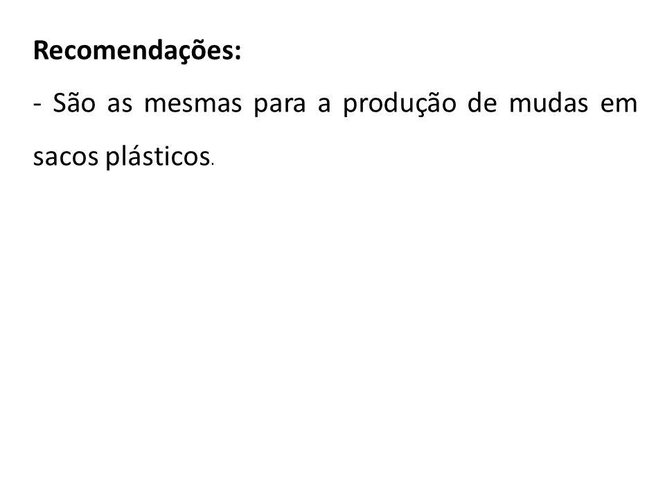 Recomendações: - São as mesmas para a produção de mudas em sacos plásticos.