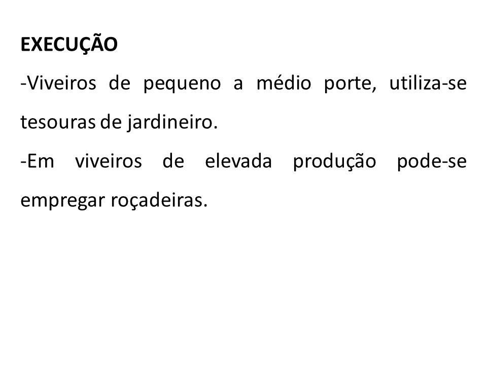 EXECUÇÃO -Viveiros de pequeno a médio porte, utiliza-se tesouras de jardineiro. -Em viveiros de elevada produção pode-se empregar roçadeiras.