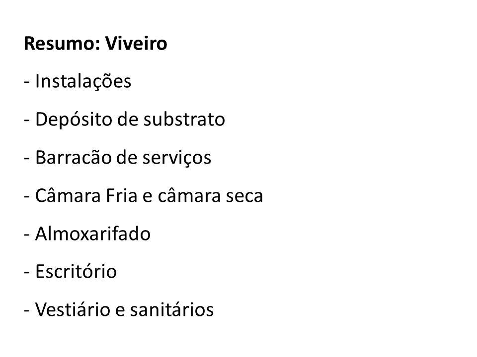 Resumo: Viveiro - Instalações - Depósito de substrato - Barracão de serviços - Câmara Fria e câmara seca - Almoxarifado - Escritório - Vestiário e san