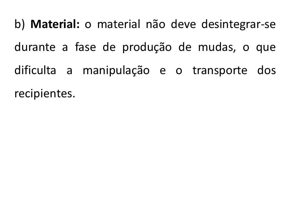 b) Material: o material não deve desintegrar-se durante a fase de produção de mudas, o que dificulta a manipulação e o transporte dos recipientes.