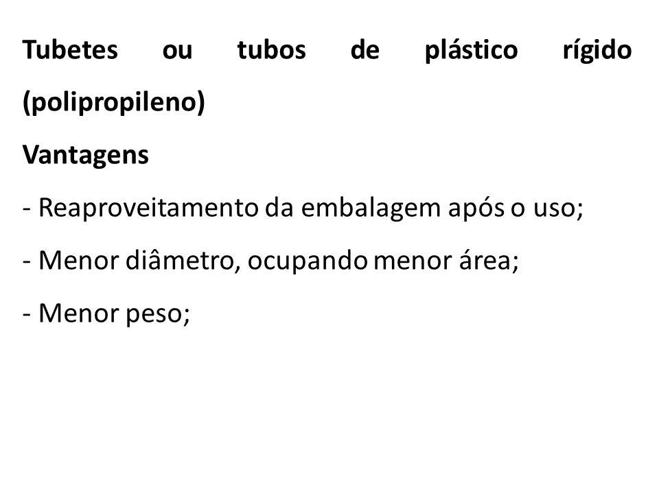 Tubetes ou tubos de plástico rígido (polipropileno) Vantagens - Reaproveitamento da embalagem após o uso; - Menor diâmetro, ocupando menor área; - Men