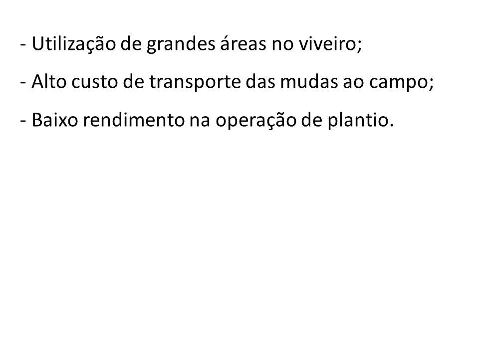 - Utilização de grandes áreas no viveiro; - Alto custo de transporte das mudas ao campo; - Baixo rendimento na operação de plantio.