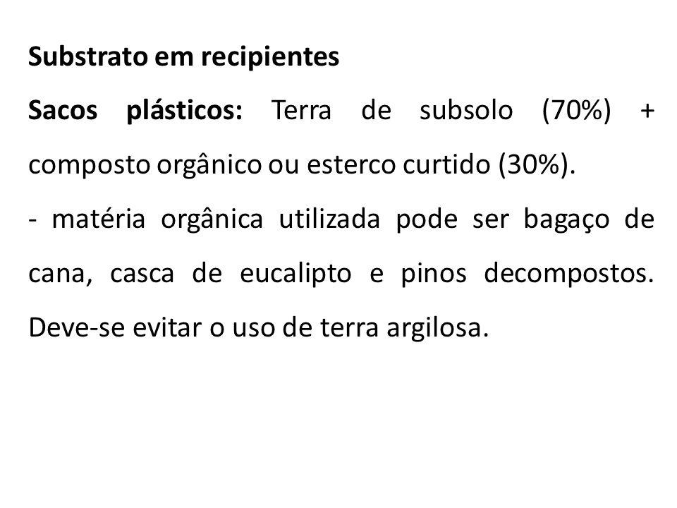 Substrato em recipientes Sacos plásticos: Terra de subsolo (70%) + composto orgânico ou esterco curtido (30%). - matéria orgânica utilizada pode ser b