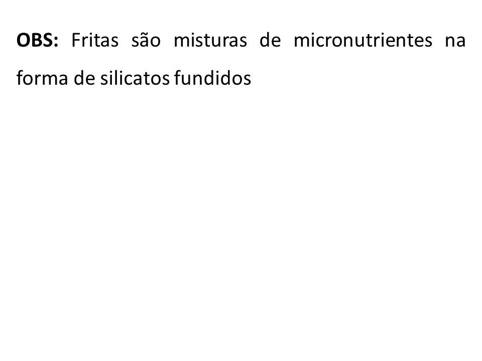 OBS: Fritas são misturas de micronutrientes na forma de silicatos fundidos