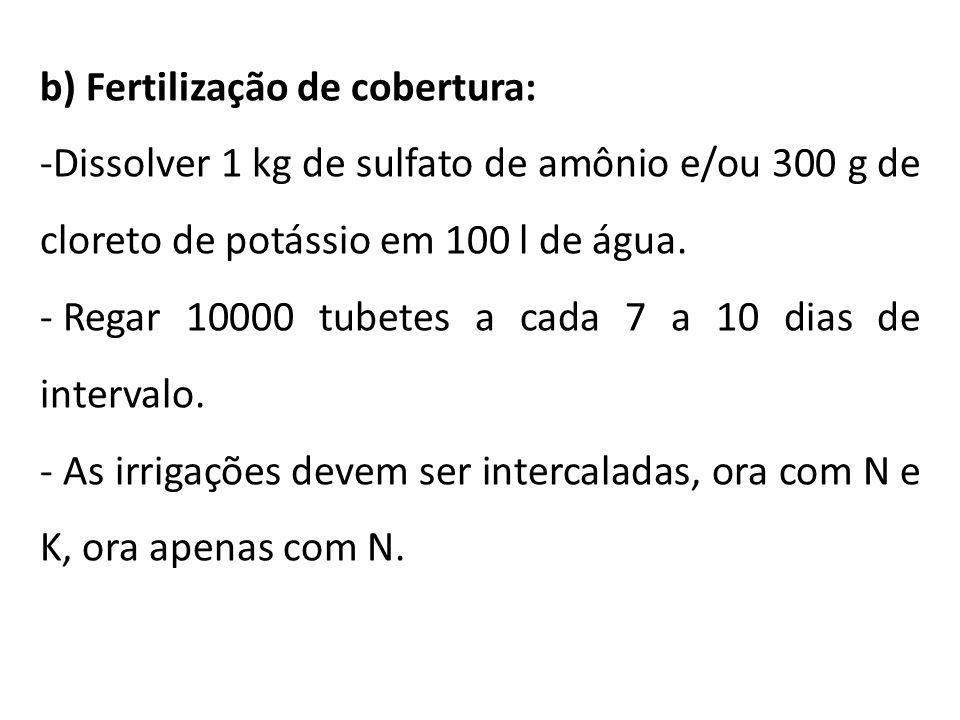 b) Fertilização de cobertura: -Dissolver 1 kg de sulfato de amônio e/ou 300 g de cloreto de potássio em 100 l de água. - Regar 10000 tubetes a cada 7