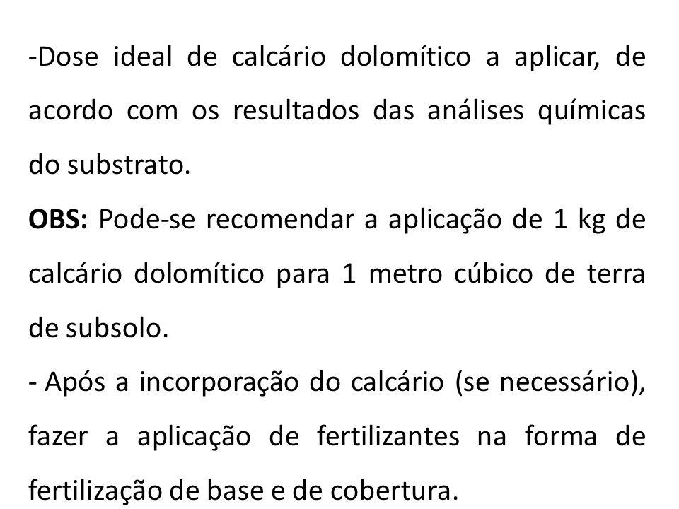 -Dose ideal de calcário dolomítico a aplicar, de acordo com os resultados das análises químicas do substrato. OBS: Pode-se recomendar a aplicação de 1