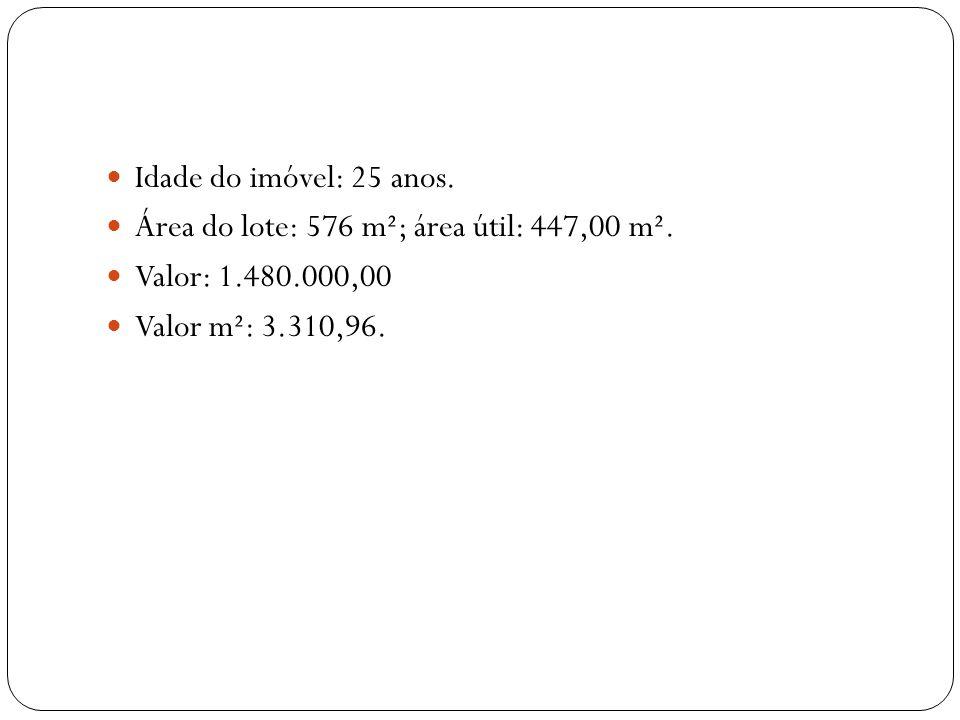 Idade do imóvel: 25 anos. Área do lote: 576 m²; área útil: 447,00 m². Valor: 1.480.000,00 Valor m²: 3.310,96.