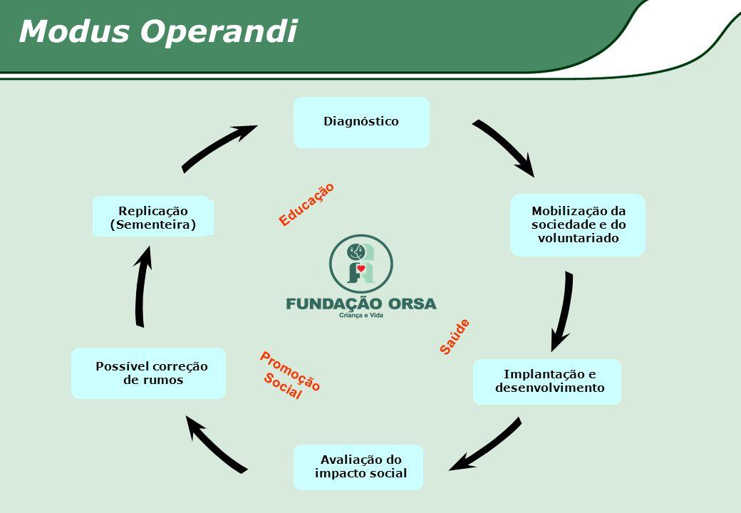 Modus Operandi Diagnóstico Mobilização da sociedade e do voluntariado Implantação e desenvolvimento Avaliação do impacto social Possível correção de r