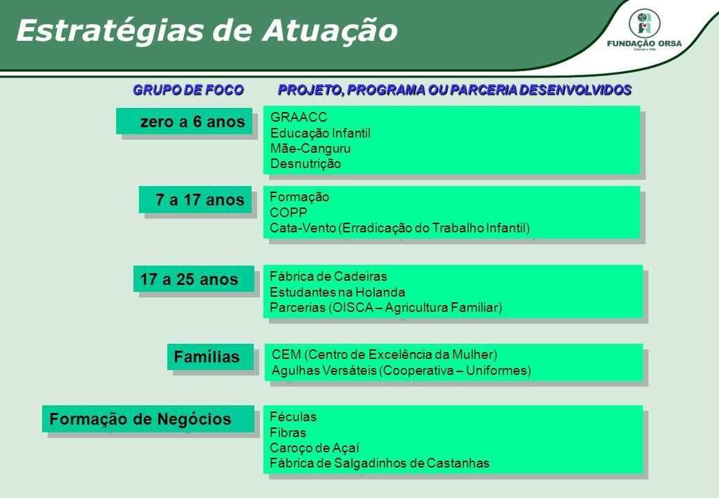 GRUPO DE FOCO zero a 6 anos 7 a 17 anos 17 a 25 anos Famílias Formação de Negócios Formação COPP Cata-Vento (Erradicação do Trabalho Infantil) Formaçã