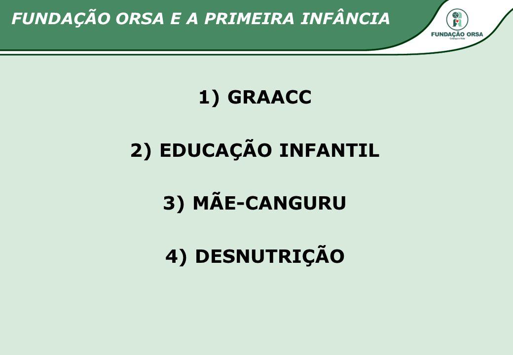 1) GRAACC 2) EDUCAÇÃO INFANTIL 3) MÃE-CANGURU 4) DESNUTRIÇÃO FUNDAÇÃO ORSA E A PRIMEIRA INFÂNCIA