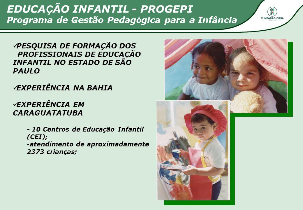 PESQUISA DE FORMAÇÃO DOS PROFISSIONAIS DE EDUCAÇÃO INFANTIL NO ESTADO DE SÃO PAULO EXPERIÊNCIA NA BAHIA EXPERIÊNCIA EM CARAGUATATUBA - 10 Centros de E