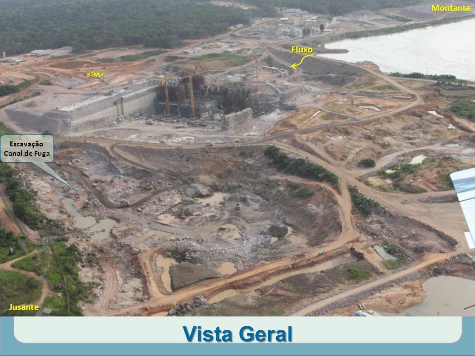 Vista Geral Montante Escavação Canal de Fuga Fluxo Jusante BTMD