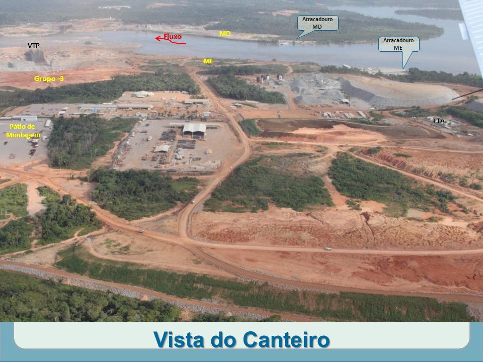 Vista do Canteiro Grupo -3 Fluxo MD ME Atracadouro ME Atracadouro MD ETA Pátio de Montagem VTP