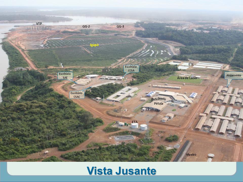 Vista Jusante Igapó ETE ETA Área de Lazer VTP GG-3GG-2 Refeitório Pétala Viveiro Escritório SAE Escritório CCSA Escritório CSAC Alojamento