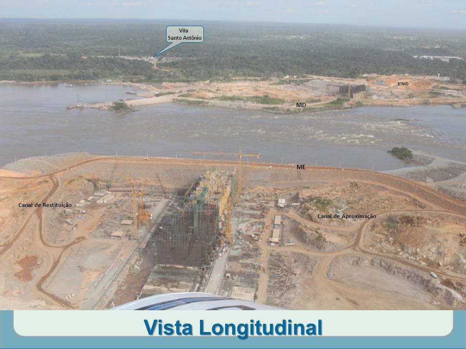 Vista Longitudinal Canal de Aproximação Canal de Restituição MD ME Vila Santo Antônio BTMD