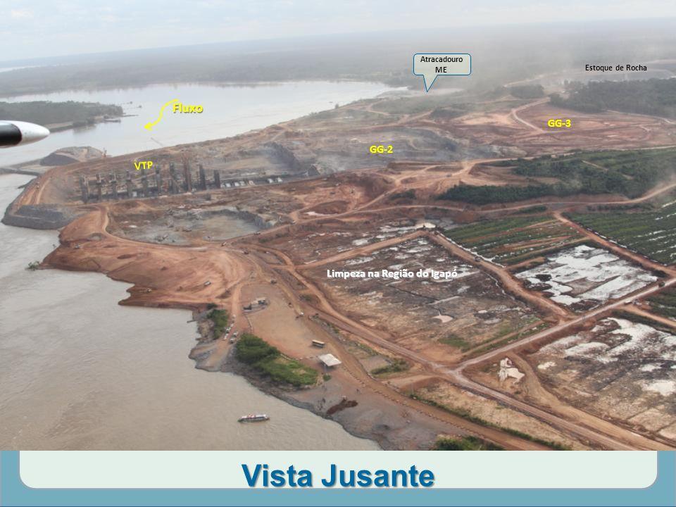 Vista Jusante Limpeza na Região do Igapó Estoque de Rocha GG-3 GG-2 VTP Atracadouro ME Fluxo